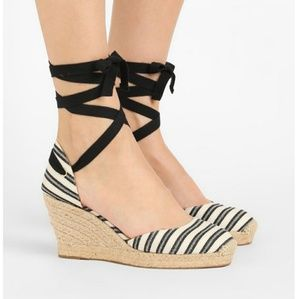 J. Crew espradilles black and white wedges